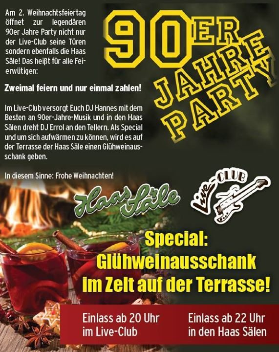 party 90er jahre party am 2 weihnachtsfeiertag live club in bamberg. Black Bedroom Furniture Sets. Home Design Ideas