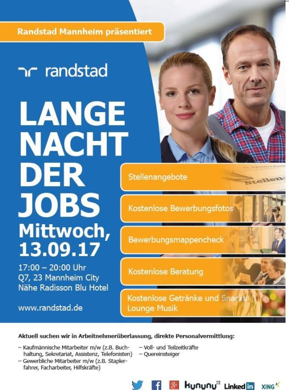 event lange nacht der jobs randstad mannheim in mannheim. Black Bedroom Furniture Sets. Home Design Ideas