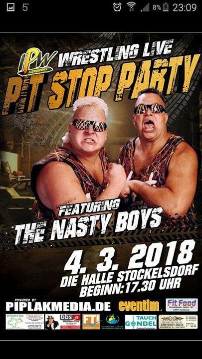 party pit stop party mit den wwe legenden nasty boys die halle l beck in stockelsdorf. Black Bedroom Furniture Sets. Home Design Ideas